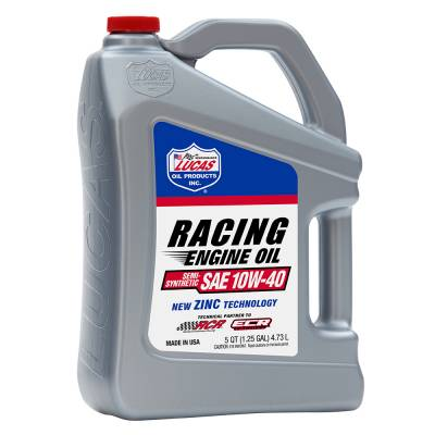 Oil, Fuel, Fluids, & Cleaners - Engine Oil - Lucas Oil - Semi-Synthetic 10W-40 Racing Oil 5 Qt. Jug