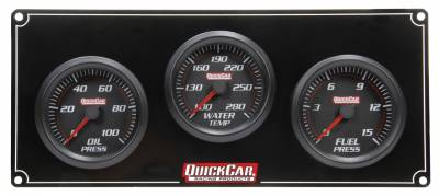Gauges & Accessories - Gauge Panels - Quick Car - QuickCar 63-3012 Redline LED Lit Black Face Digital Stepper 3 Gauge Panel- Oil Pressure/Water Temp/ Fuel Pressure