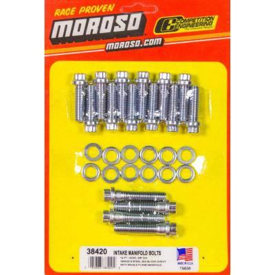 Moroso - Moroso 38420 Single Plane Aluminum Intake Bolts Fastener Kit Big Block Chevy 454