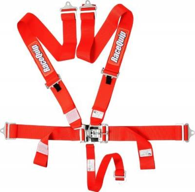 Safety & Seats - Seat Belts, Safety Harnesses, Window Nets & Components - Racequip - RaceQuip 711011 Red SFI 16.1 Latch and Link 5-Point Safety Harness Set with Individual Shoulder Belt