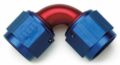 Aluminum AN Fittings - Flare Union Fittings - Aeroquip Performance Products - Aeroquip FCM2980 90 Degree -10 AN Female Flare Swivel Fitting Blue/Red Anodized Aluminum