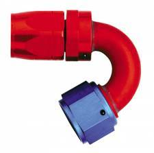 Aluminum Reusable Fittings  - 120 Degree Reusable Fittings - Aeroquip Performance Products - Aeroquip FCM4055 -12 AN 150 Degree Reuseable Swivel Hose End Fitting Red/Blue Anodized Aluminum