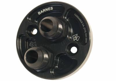 Barnes Oiling Systems - Barnes Oiling Systems 8932-12 Remote Oil Filter Adapter w/ -12 AN Inlet & Outlet Ports Small Block Chevy