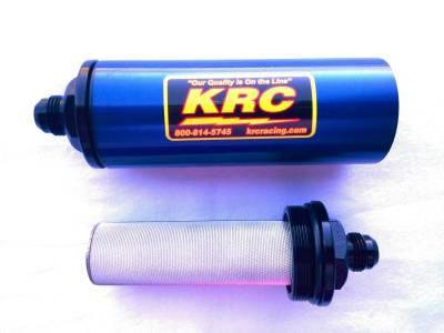 """Fuel System & Components - Fuel Filters - Kluhsman Racing Components - KRC 4708BLF 2"""" 100 Micron In-Line Fuel Filter w/Stainless Element #8AN - Blue"""