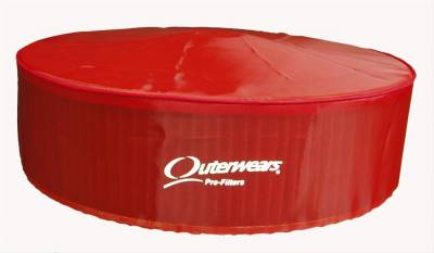"""Air Filters & Cold Air Intakes - Pre Filters - Outerwears Co Inc - Outerwears Co Inc 10-1014-03 14"""" x 4"""" Air Cleaner Pre-Filter w/ Top - Red"""