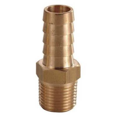 """Fittings & Hoses - Brass - Steel Hose Ends - Precision Racing Components - PRC M2500 Brass 1/8"""" NPT X 3/8"""" Barbed Nipple Fitting"""