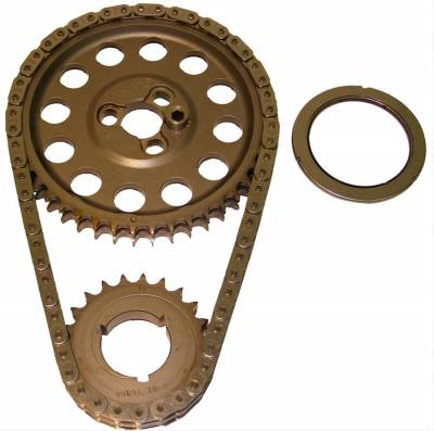 "Valvetrain & Camshaft Components - Timing Chain Sets - Cloyes - Cloyes 9-3146A-5 SBC Hex-A-Just True Roller Timing  Chain Set -.005"" Center for Dart Rocket Block"