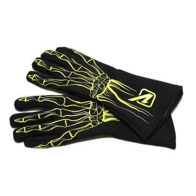 Safety & Seats - Driving Gloves - Velocita - FLO YELLOW Velocita Skeleton 2 Layer Racing Gloves