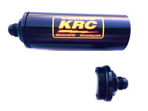 Fuel System & Components - Fuel Filters - Kluhsman Racing Components - KRC 4508BK #8AN Long In-Line Fuel Filter Black (No Element)