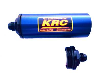 Fuel System & Components - Fuel Filters - Kluhsman Racing Components - KRC 4508BL #8AN Long In-Line Fuel Filter Blue (No Element)