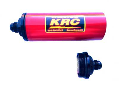 Fuel System & Components - Fuel Filters - Kluhsman Racing Components - KRC 4510RD #10AN Long In-Line Fuel Filter Red (No Element)