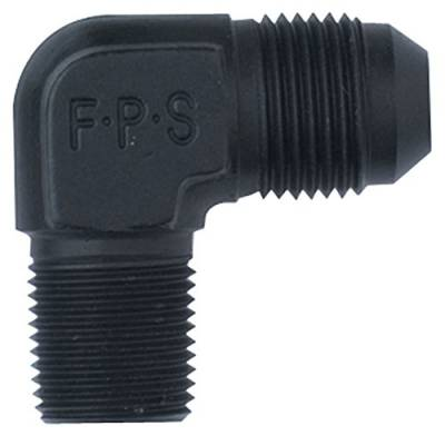 Aluminum AN Fittings - 90 Degree Male Elbow AN to Pipe Fittings - Fragola - -3 X 3/8 MPT 90 DEG BLACK