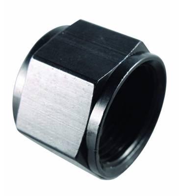 Aluminum AN Fittings - AN Flare Caps - Fragola - -3 CAP BLACK