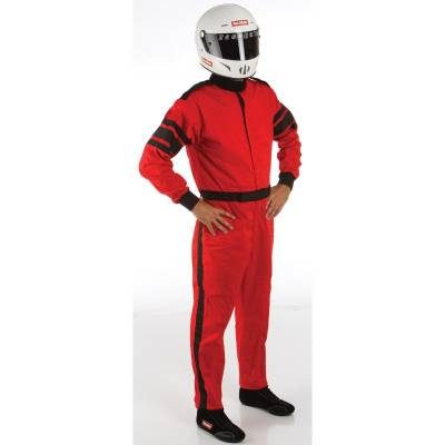 Driving Suits - Racequip Single Layer Suits - Racequip - Large Red Single Layer 1 Piece Race Driving Fire Safety Suit SFI 3.2A/1 Rated