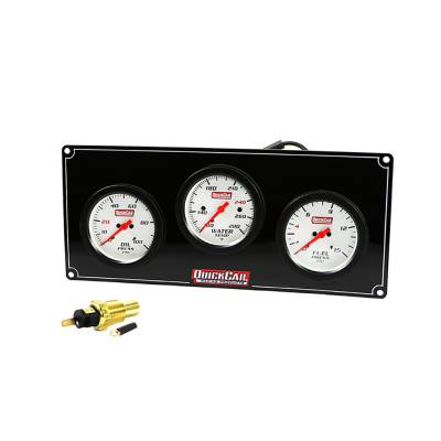 Gauges & Accessories - Gauge Panels - Quick Car - QuickCar 61-7012 Extreme White Face Gauge Panel Fuel / Oil Pressure Water Temp