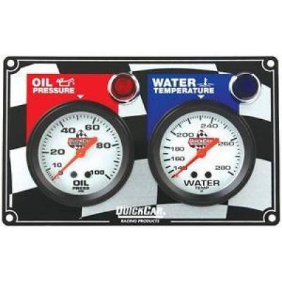 Quick Car - QuickCar 61-6001 Dual 2 Gauge Panel Oil Pressure & Water Temp w/ Warning Lights