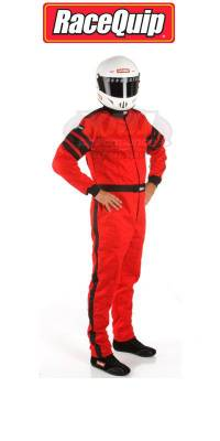 Driving Suits - Racequip Single Layer Suits - Racequip - Large Red Multi-Layer 1 Piece Race Driving Fire Safety Suit SFI 5 Rated