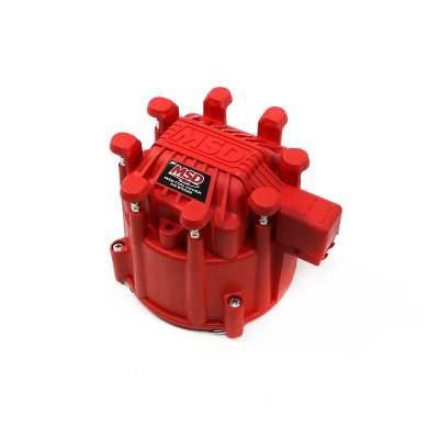 Distributors & Components - Distributor Cap & Rotor - MSD - MSD Ignition 84111 GM Chevy Extreme Output HEI Distributor Large Cap Red V8