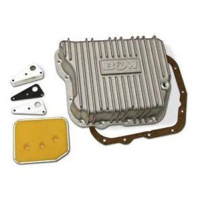 Transmission & Drivetrain - Transmission Oil Pan & Components - B & M - B&M 10280 Finned Brushed Cast Aluminum A727 518 48RE Deep Transmission Pan +4 Qt