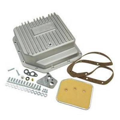 Transmission & Drivetrain - Transmission Oil Pan & Components - B & M - B&M 30280 Finned Brushed Cast Aluminum GM TH350 Deep Transmission Pan +3 Quarts