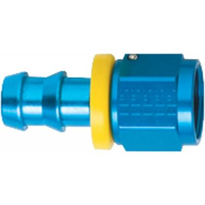 Fittings & Hoses - Fragola - Fragola 200104 4 AN Push Lock Straight Aluminum Hose Fuel Fitting Blue IMCA