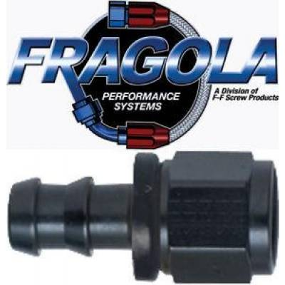 Fittings & Hoses - Fragola - Fragola 200116-BL 16 AN Push Lock Straight Aluminum Hose Fuel Fitting Black IMCA