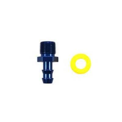 Fittings & Hoses - Fragola - Fragola 200123 3/8 MPT to -6AN Push Lock Hose End Barb Blue Fitting Pipe Thread