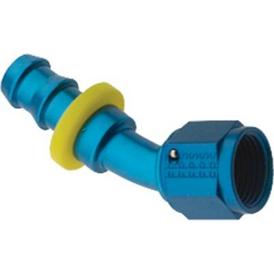 Fittings & Hoses - Fragola - Fragola 203008 8 AN Push Lock Aluminum 30 Degree Hose Fuel Fitting Blue IMCA