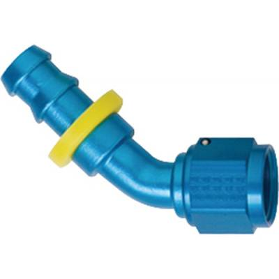 Fittings & Hoses - Fragola - Fragola 204516 16 AN Push Lock Aluminum 45 Degree Hose Fitting Water Blue IMCA