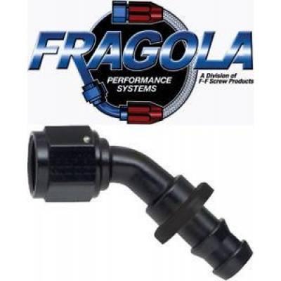 Fittings & Hoses - Fragola - Fragola 204516-BL 16 AN Push Lock Aluminum 45 Degree Hose Fitting Black IMCA