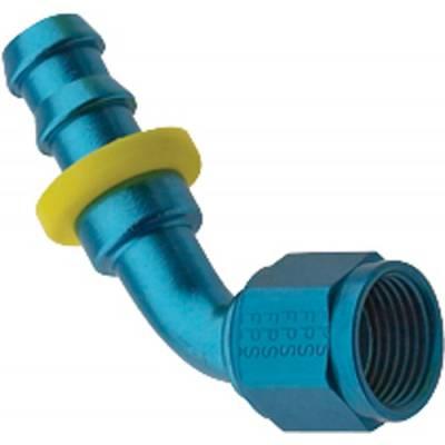 Fittings & Hoses - Fragola - Fragola 206006 6 AN Push Lock Aluminum 60 Degree Hose Fuel Fitting Blue IMCA