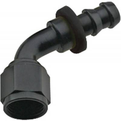 Fittings & Hoses - Fragola - Fragola 206008-BL 8 AN Push Lock Aluminum 60 Degree Hose Fitting Black IMCA USRA