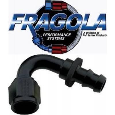 Fittings & Hoses - Fragola - Fragola 212016-BL 16 AN Push Lock Aluminum 120 Angle Hose Fitting Black IMCA