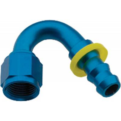 Fittings & Hoses - Fragola - Fragola 215008 8 AN Push Lock Aluminum 150 Degree Hose Fitting Blue IMCA USRA