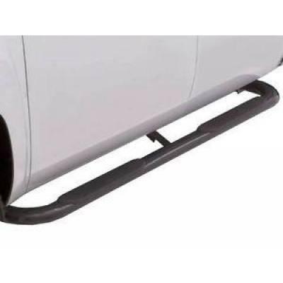 Lund International - Lund 23456776 Nerf Bar 4 Inch Black Round Bent Steel 2003-2009 Dodge Ram Std Cab