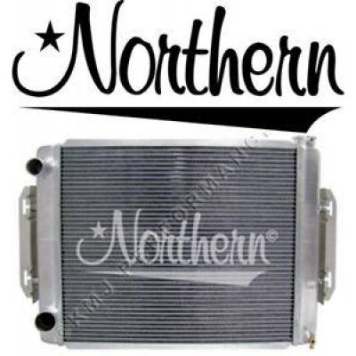 "Northern Radiator - 26"" x 19"" Double Pass 2 Row Aluminum Racing Radiator M/T Left Hoses w/ Brackets"