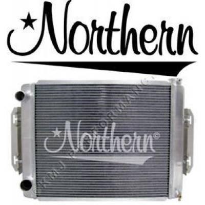 "Cooling - Radiators - Northern Radiator - 26"" x 19"" Double Pass 2 Row Aluminum Racing Radiator M/T Left Hoses w/ Brackets"
