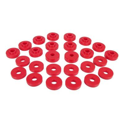 Prothane Motion Control - Prothane 1-108 1967-73 Jeep Jeepster Commando Body Mount Bushing Kit Red Poly