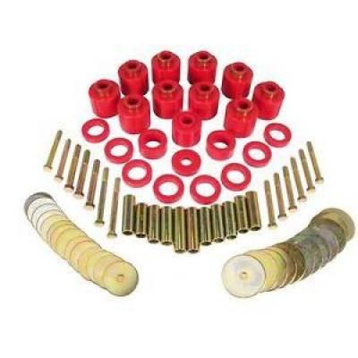 "Prothane Motion Control - Prothane 1-111 1980-86 Jeep CJ5 CJ7 1"" Body Lift Bushing Kit w/ Hardware Red"