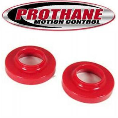 Prothane Motion Control - 1997-06 Wrangler TJ Base Rubicon Unlimited Front Coil Spring Isolators Red Poly