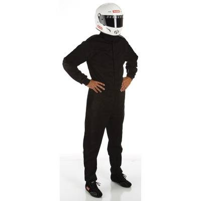 - Racequip - Medium Tall Black Single Layer 1pc Race Driving Fire Safety Suit SFI3.2A/1 Rated