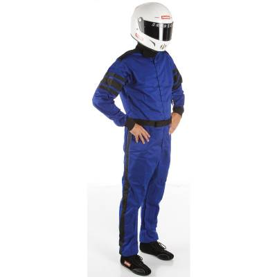 Racequip - Large Blue Single Layer 1 Piece Race Driving Fire Safety Suit SFI 3.2A/1 Rated