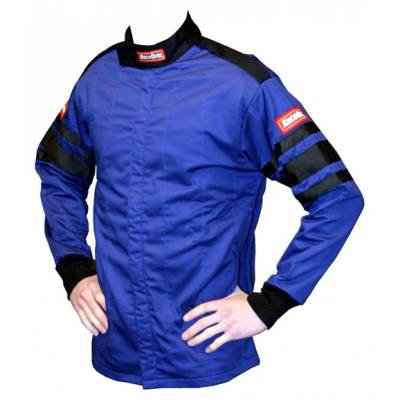 - Racequip - Large Blue Single Layer Race Driving Fire Safety Suit Jacket SFI 3.2A/1 Rated