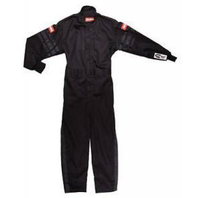 Racequip - Large Kids Youth Black Trim 1 Piece Single Layer Race Driving Safety Fire Suit