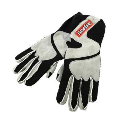 RaceQuip 356603 Medium 2-Layer Gray/Black Racing Driving Gloves Nomex SFI Rated