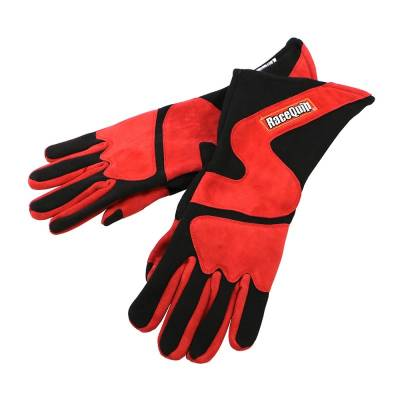 Racequip - RaceQuip 358103 Medium 2-Layer Red/Black Racing Driving Gloves Nomex SFI Rated