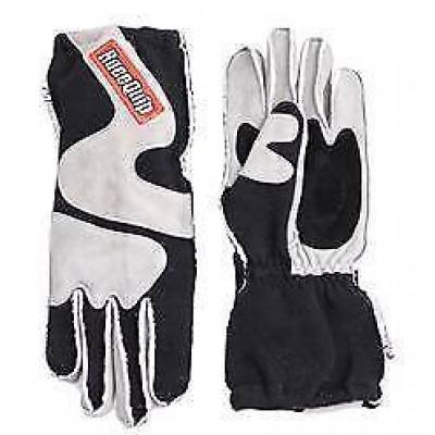 Racequip - RaceQuip 359602 Small 2-Layer Gray/Black SFI5 Outseam Angle Cut Gauntlet Gloves