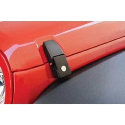 Rampage Products - Rampage 76336 Locking Hood Catch Kit Black 2007-18 Jeep Wrangler JK & Unlimited