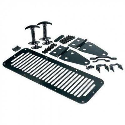 Rampage Products - Rampage 7699 Complete Hood Set Black Stainless 1978-1995 Jeep CJ & Wrangler