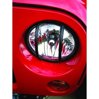 Rampage Products - Rampage 86665 Euro Front Light Guards Black 1997-2006 Jeep JK & TJ Wrangler